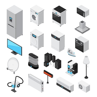 Conjunto isométrico de electrodomésticos.
