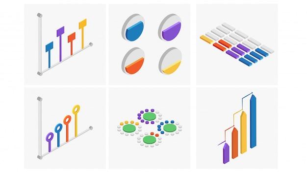 Conjunto isométrico del elemento colorido infografía.