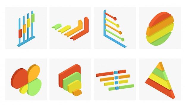 Conjunto isométrico de elemento de infografía empresarial en diferentes colores.