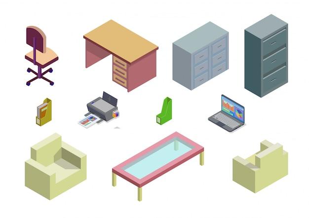 Conjunto isométrico de elemento de mobiliario de oficina y hogar.