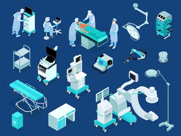 Conjunto isométrico de equipos de quirófano médico.