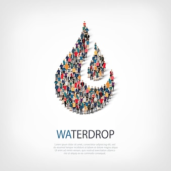 Conjunto isométrico de estilos, gota de agua, ilustración del concepto de infografía web de una plaza llena de gente. grupo de puntos de multitud que forma una forma predeterminada. gente creativa.