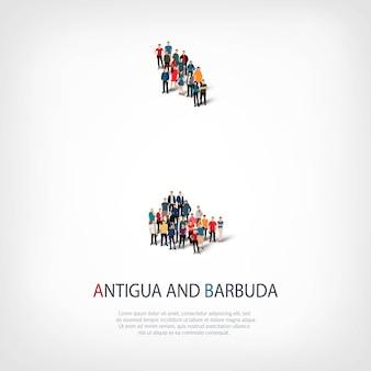 Conjunto isométrico de estilos, personas, mapa de antigua y barbuda, país, concepto de infografía web de espacio lleno de gente. grupo de puntos de multitud que forma una forma predeterminada.