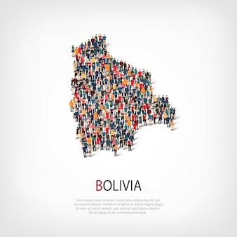 Conjunto isométrico de estilos, personas, mapa de bolivia, país, concepto de infografía web de espacio lleno de gente. grupo de puntos de multitud que forma una forma predeterminada. gente creativa.