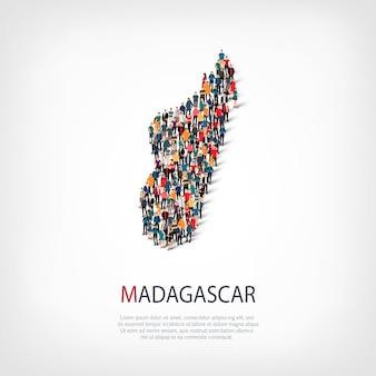 Conjunto isométrico de estilos, personas, mapa de madagascar, país, concepto de infografía web de espacio lleno de gente. grupo de puntos de multitud que forma una forma predeterminada. gente creativa.