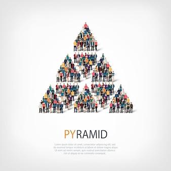 Conjunto isométrico de estilos, pirámide, ilustración del concepto de infografía web de una plaza llena de gente. grupo de puntos de multitud que forma una forma predeterminada. gente creativa.