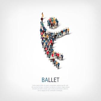 Conjunto isométrico de estilos símbolo abstracto, ballet, concepto de infografía web de un cuadrado lleno de gente, 3d plano.