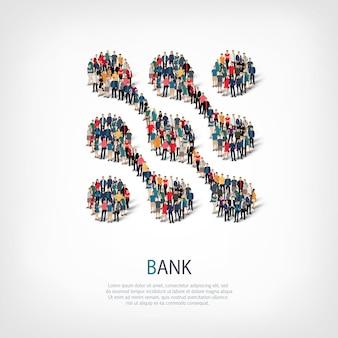 Conjunto isométrico de estilos símbolo abstracto, banco, concepto de infografía web de una plaza llena de gente
