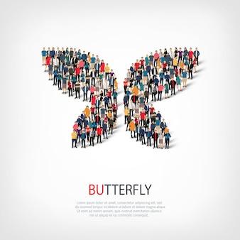 Conjunto isométrico de estilos símbolo abstracto, mariposa, concepto de infografía web de una plaza llena de gente