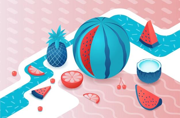 Conjunto isométrico de frutas con sandía