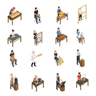 Conjunto isométrico de gente artesana