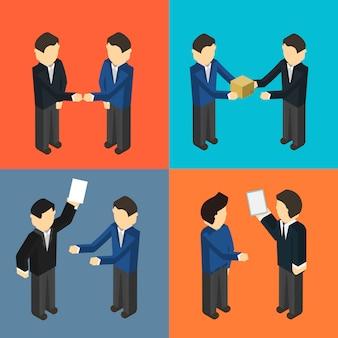 Conjunto isométrico de gerentes de entrega cooperantes