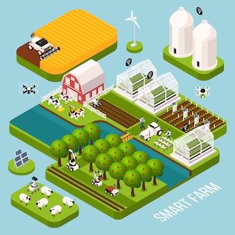 Conjunto isométrico de granja inteligente con construcción agrícola, ilustración de vector aislado isométrico