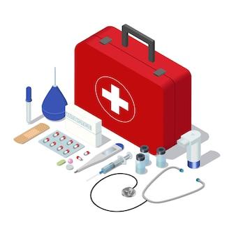 Conjunto isométrico de herramientas de kit de primeros auxilios caso médico aislado y medicamentos.