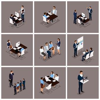 Conjunto isométrico de hombres y mujeres de negocios