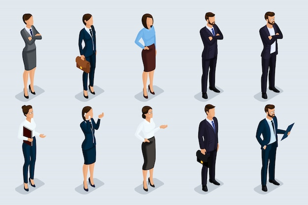 Conjunto isométrico de hombres y mujeres en traje de negocios, de un código corporativo de gente de negocios. empresarios sobre un fondo gris, aislado