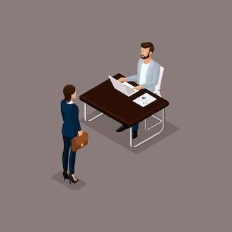 Conjunto isométrico de hombres de negocios de mujeres con hombres en la oficina, ropa corporativa aislada sobre fondo oscuro