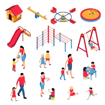 Conjunto isométrico de jardín de infantes con padres, educadores, niños durante el aprendizaje y la alimentación, elementos de juego aislados