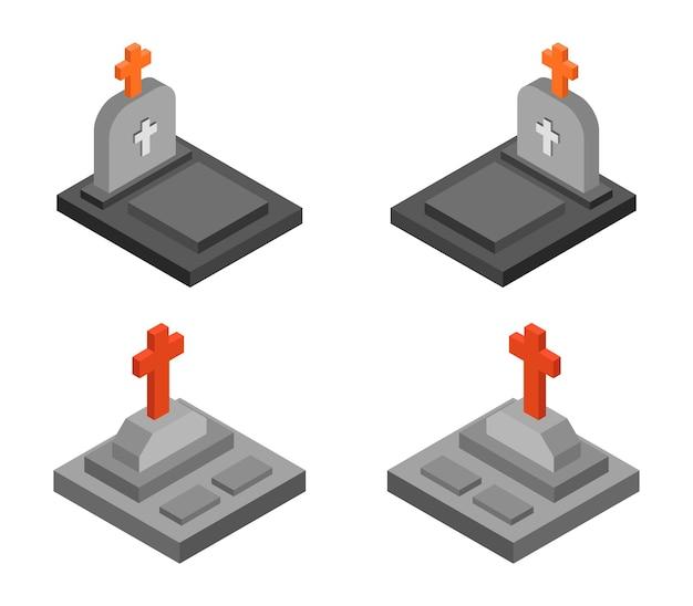 Conjunto isométrico de lápida de halloween
