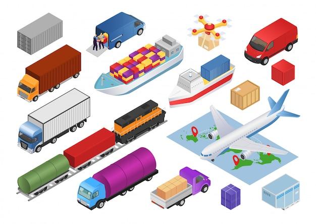 Conjunto isométrico de logística con ilustraciones de iconos de entrega de carga de transporte. recogida de transporte de camiones, automóviles, aviones, vehículos comerciales y trenes, autobuses, transportadores.