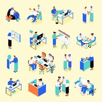 Conjunto isométrico de lugar de trabajo de personas de negocios con gestión de tareas trabajo en equipo efectivo presentación reunión comunicación descanso para tomar café
