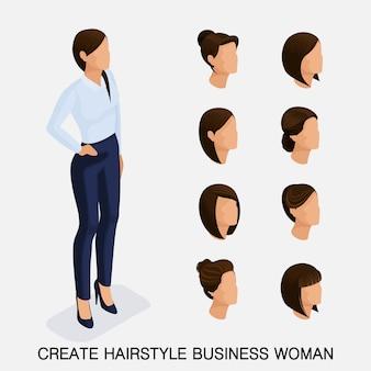 Conjunto isométrico de moda, peinados de mujer. mujer de negocios joven, peinado, color de pelo, aislado.