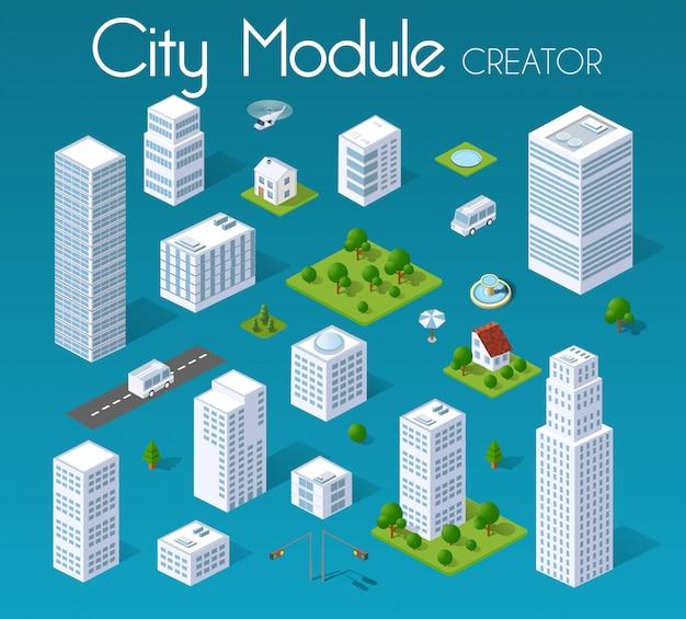 Conjunto isométrico de módulo ciudad.