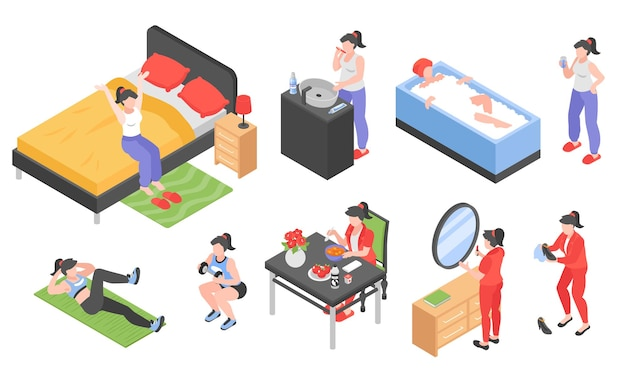 Conjunto isométrico de mujeres de rutina matutina con símbolos de baño y deportes aislados