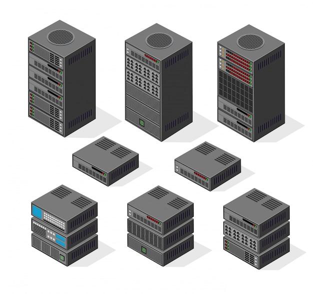 Conjunto isométrico de ordenador 3d