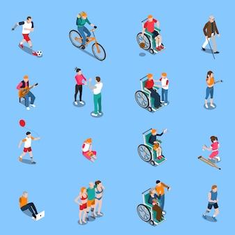 Conjunto isométrico de personas con discapacidad