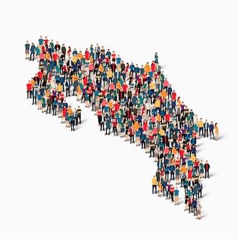 Conjunto isométrico de personas formando mapa de costa rica