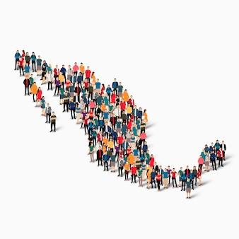 Conjunto isométrico de personas formando mapa de méxico