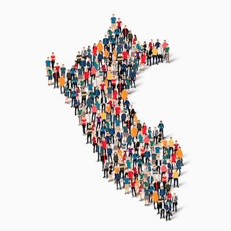 Conjunto isométrico de personas formando mapa de perú