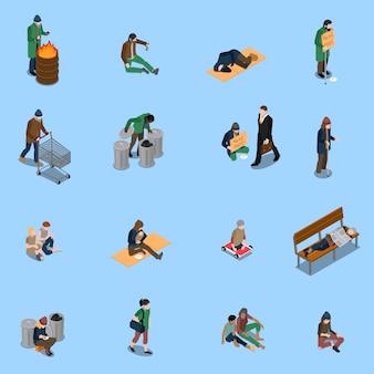 Conjunto isométrico de personas sin hogar