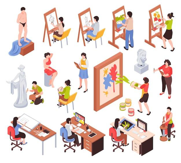 Conjunto isométrico de profesión creativa con artistas maestros de escultura y cerámica, diseñadores gráficos aislados ilustración vectorial