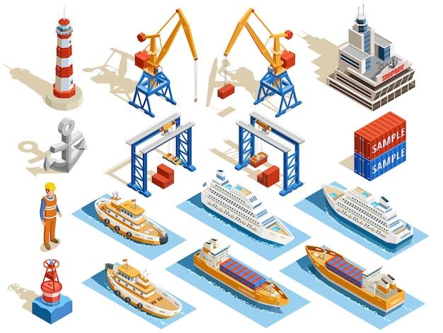 Conjunto isométrico puerto marítimo