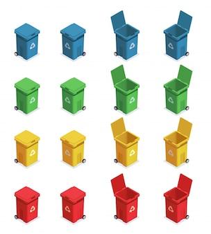 Conjunto isométrico de reciclaje de residuos de basura con dieciséis imágenes aisladas de contenedores de basura con diferentes códigos de color ilustración vectorial