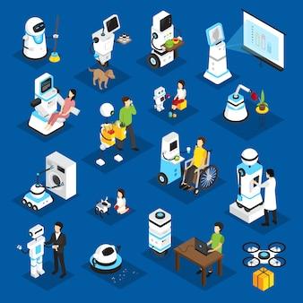Conjunto isométrico de robots.