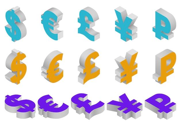 Conjunto isométrico de símbolos de moneda del mundo: dólar, libra esterlina, euro, yen, rublo