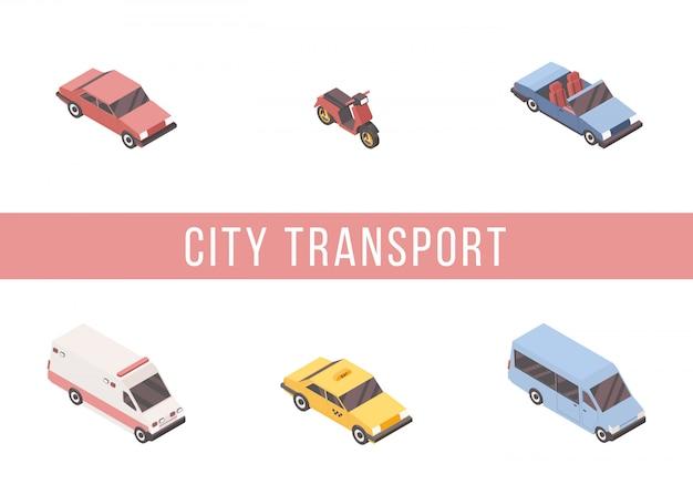 Conjunto isométrico de transporte urbano.