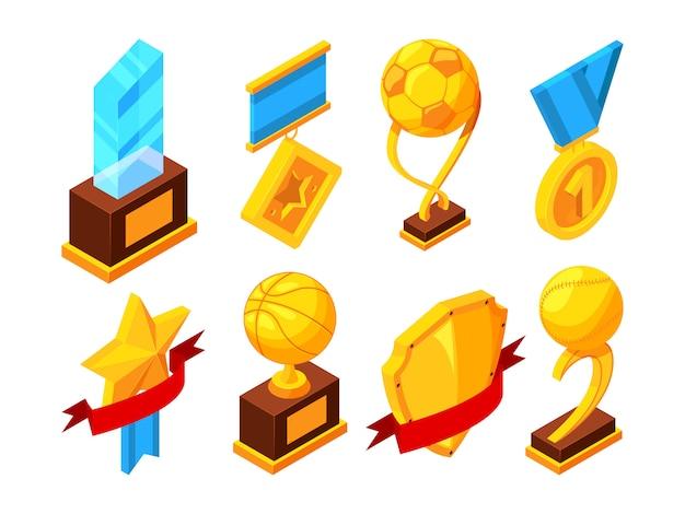 Conjunto isométrico de trofeo deportivo.