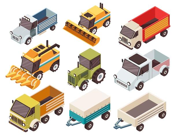 Conjunto isométrico de vehículos de granja