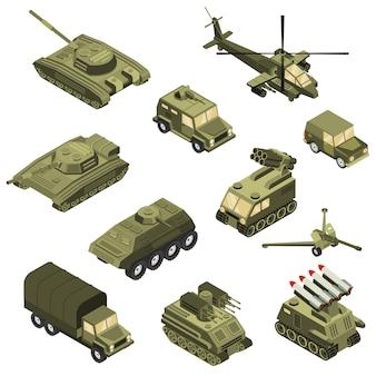 Conjunto isométrico de vehículos militares