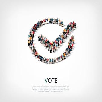 Conjunto isométrico de voto sí, concepto de infografía web de una plaza llena de gente