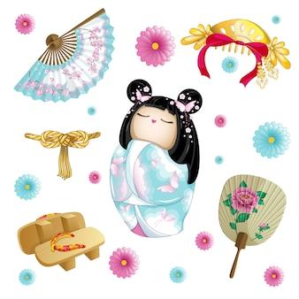 Conjunto japonés con muñeca kokeshi.