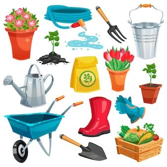 Conjunto de jardín con brotes e inventario