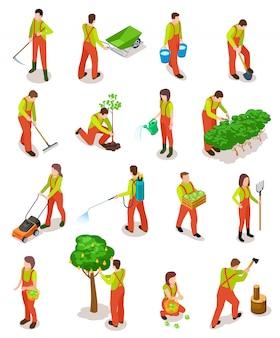 Conjunto de jardinero isométrico