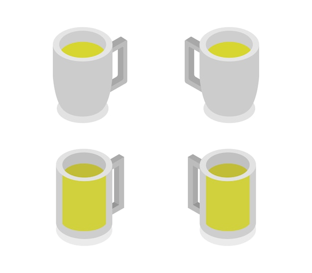 Conjunto de jarras de cerveza isométrica