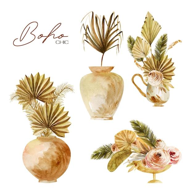 Conjunto de jarrones antiguos de acuarela y cerámica con hojas de palmera de abanico secas y rosas
