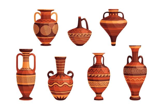 Conjunto de jarrones y macetas griegas antiguas